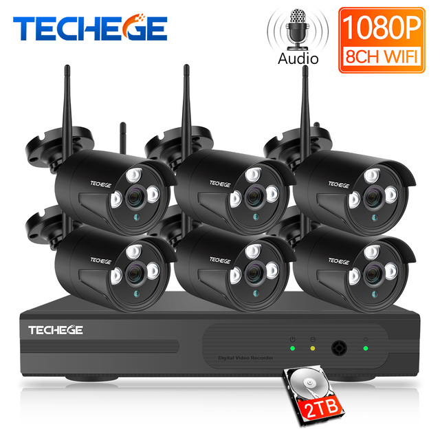 Techege H.265 8CH 1080P аудио камера система 2 мегапиксельная камера наблюдения камера безопасности Открытый водонепроницаемый беспроводной IP камера видео комплект