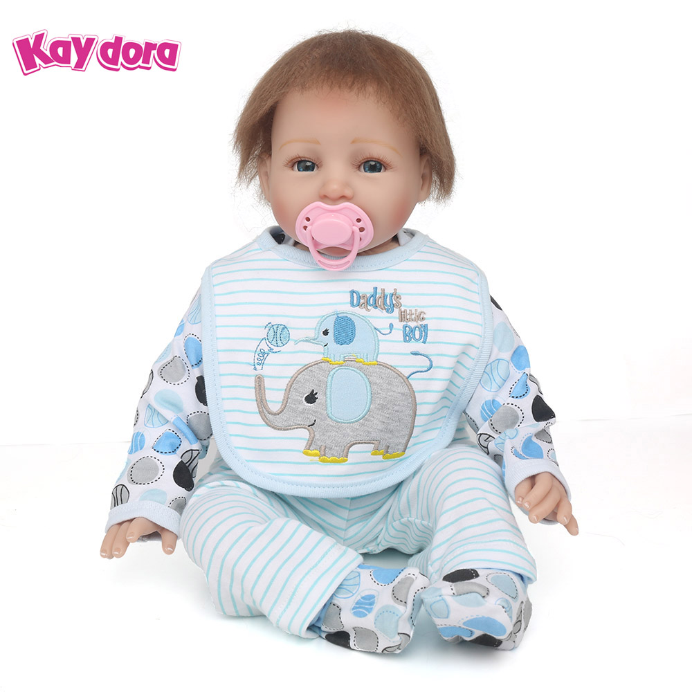 KAYDORA 55cm 22 inch Silicone Reborn Baby Dolls Mohair Alive Lifelike Real Dolls Smiling Realistic Reborn Babies Kids Playmate npkdoll 22 inch 55cm silicone reborn baby dolls with implanted mohair good price playmate christmas gift for children