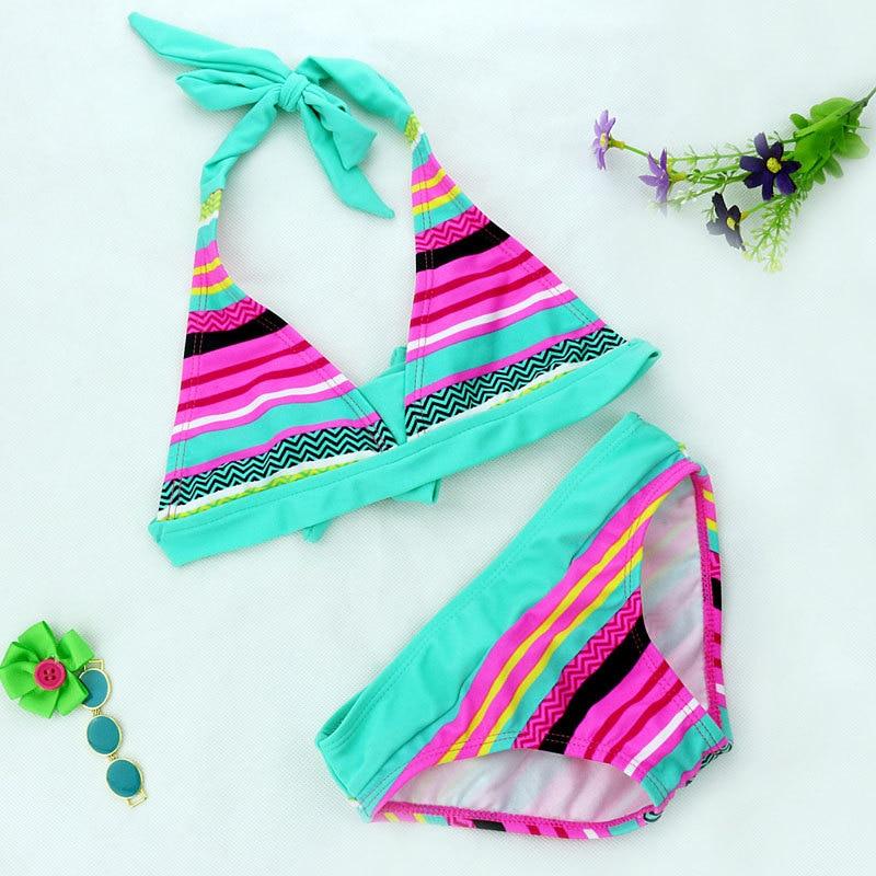 2016 2 Pieces Set Swimsuit Girls Bikini Kids New Models Swimwear Quick Drying Polyester String Bikini Top & Briefs Bottom