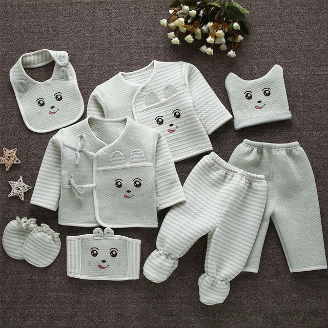 Emotion Moms (8pcs/set) Infant Clothes 0 3M Newborn Baby Suits Toddler Clothing Sets Kids Boys Girls Suit Thermal Organic Cotton