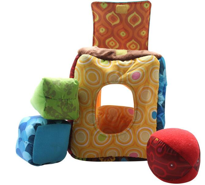 candice guo! Plush blocks square box multicolor educational toys hand-eye coordination shape color perception baby toy gift 1pc