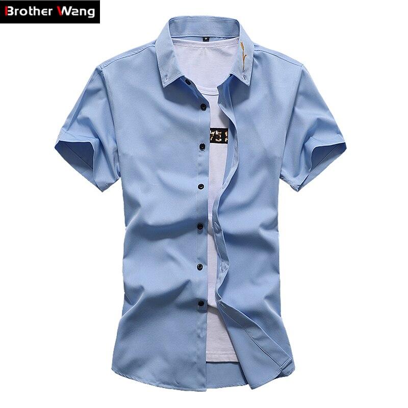 2019 Männer Shirt Einfarbig Schlank Stickerei Revers Business Casual Shirt Sommer Dünne Kurzarm Große Größe Hemd 5xl 6xl 7xl Legere Hemden Herrenbekleidung & Zubehör