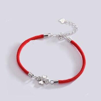 5c5648f1faeb La MaxZa de moda de Plata de Ley 925 de hoja de trébol pulseras del encanto  tejida línea roja gruesa hilo cadena cuerda pulseras para las mujeres