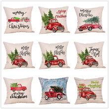 2020 Navidad Merry Christmas Pillow Cover Flax  Christmas Tree Printed Pillow Cover Cushion Cover for Sofa Car Home Decorative linen seat cushion merry christmas pillow cover