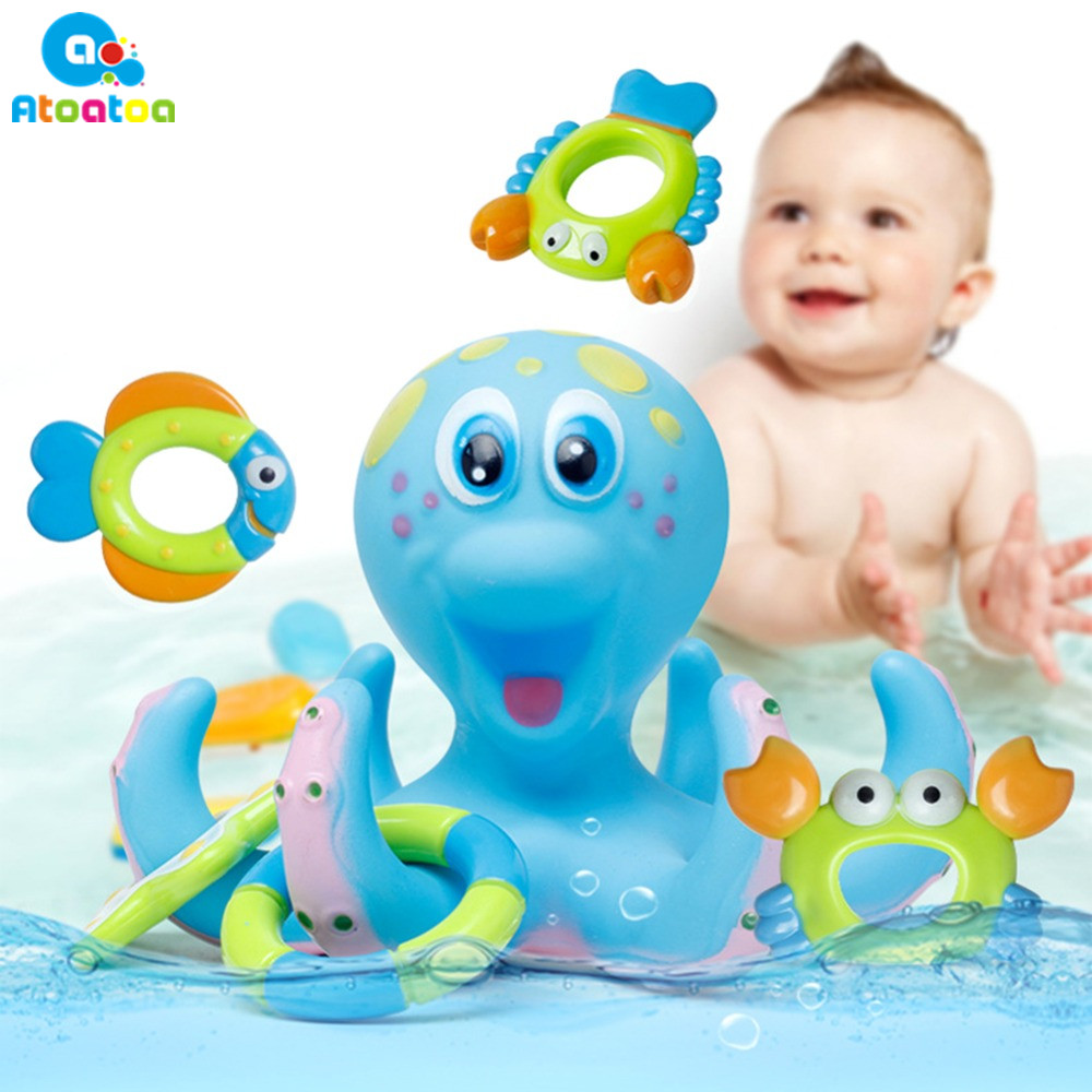 1 Set Baby Bath Toy Octopus Hoopla Bathtime Fun Toys Blue baby bath ...