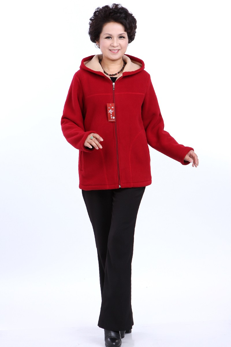 Winter Middle Aged Womens Hooded Imitation Lambs Fleece Jackets Ladies Warm Soft Velevt Coats Mother Overcoats Plus Size (7)