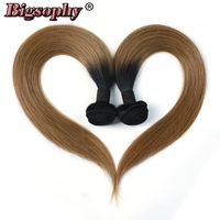 Bigsophy Indian Hair Weave Bundles Straight Human Hair 10 28 2 Tone 1B/27 Ombre Remy Hair Extension Can Buy 3/4 Bundles