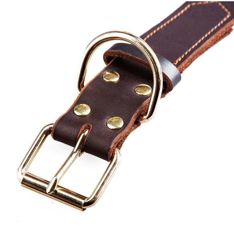 Real Leather Dog Collars Brun Sort Solid Color Prøve Hunde Halskæde - Pet produkter - Foto 3