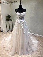 New Arrival 2018 Wedding Dress O Neck Sleeveless A Line Appliques Tulle Court Train Appliques Tulle China Bridal Gowns