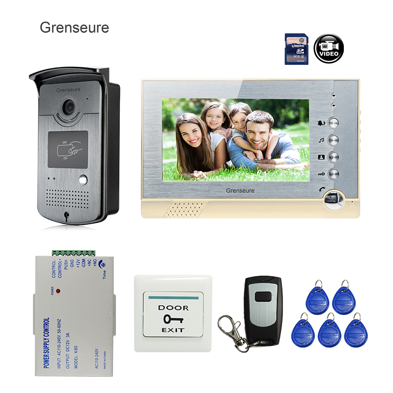 FREE SHIPPING BRAND 7 Home Color Video Door phone Intercom System + recording Monitor + RFID Card Reader Door Camera + Remote free shipping brand new 7 home video intercom door phone system with recording monitor rfid card reader door camera wholesale