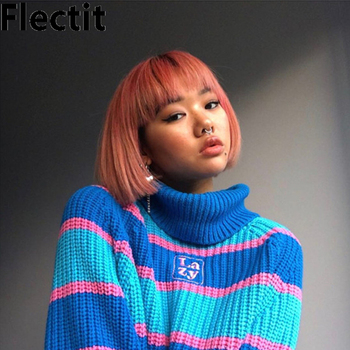 Flectit Frauen Striped Roll Neck Jumper Pullover mit Bestickt Brief Faul Rollkragen Übergroßen Chunky Stricken Pullover