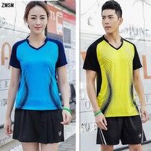ZMSM Women/Men Breathable Badminton Set V-neck Table Tennis Clothes Training Suit Shirts Shorts & Skirts Sportswear Y119