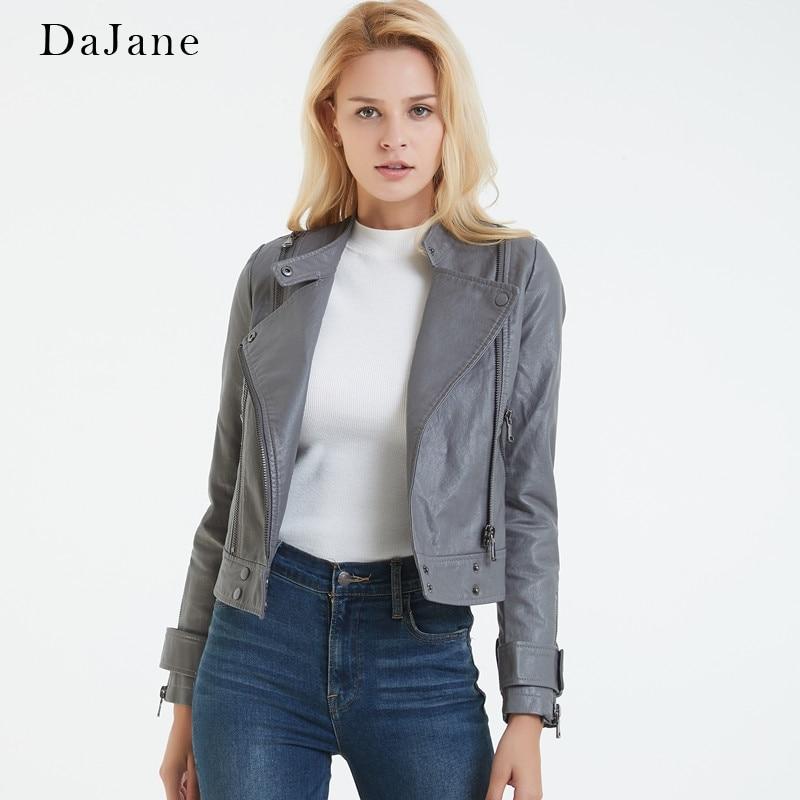 DaJane New women's   Leather   Collar Collar Short Section Slim Motorcycle Jacket PU Jacket Quality Tide