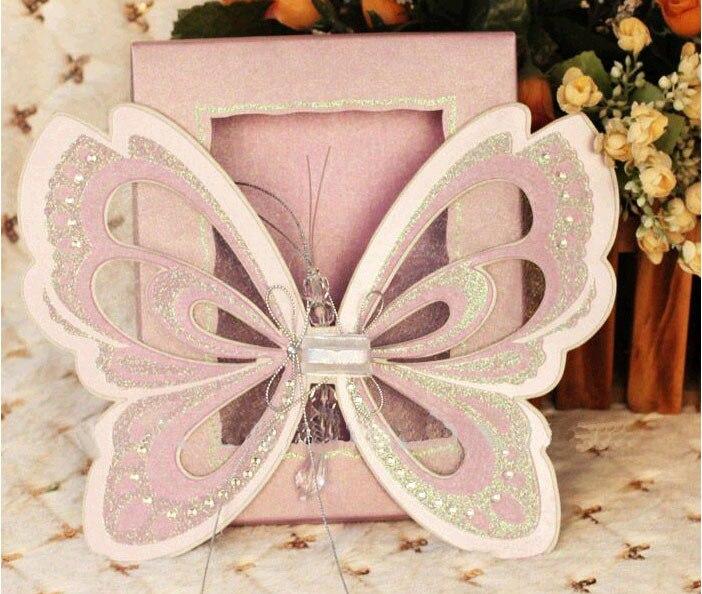 Creative Pink Elegant Butterfly Wedding Invitations with Scroll – Elegant Butterfly Wedding Invitations