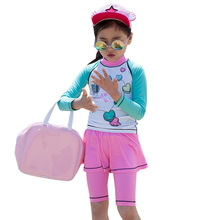 Girls Two Piece Swimwear Kawaii Glasses Printed Kids Quick Dry Spring Wear Vocation Long Sleeve Swimsuit Beach Wear for Girl