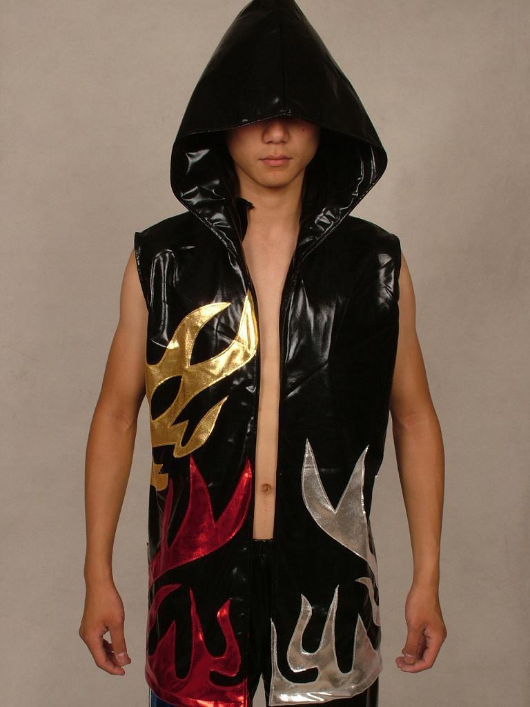 Lycra Spandex Combat jujitsu Zentai Costume Metallic Wrestling Vest Black flame