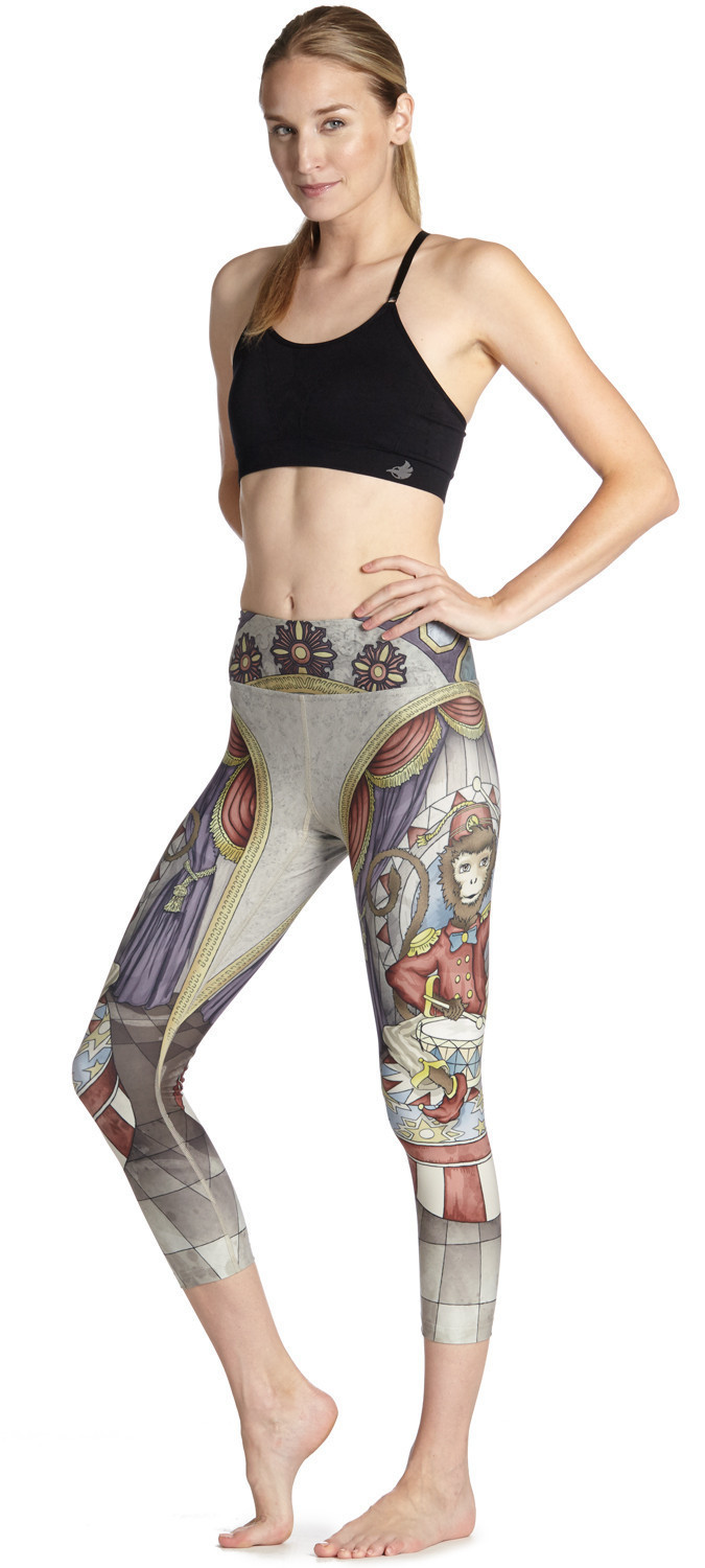 Women 3D Digital Print Monkey Drummer Fitness Quick Dry Exercise Leggings High Waist Mid Calf Energy Pants Trousers Ropa Mujer