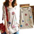 2014 Hitz large yards fat mm small fresh floral cloth affixed to the side in the long shirt T-shirt Free Shipping