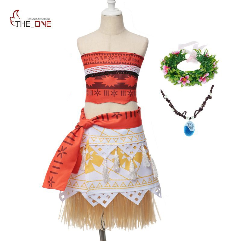 MUABABY Mom and Daughter Clothes Girls Moana Costume Fantasy Children Princess Birthday Party Cosplay Dresses Kids Moana Outfits