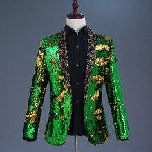 Green Gold Sequin Jacket Singer Performance Costume Dancer Outfit Blazer for Men