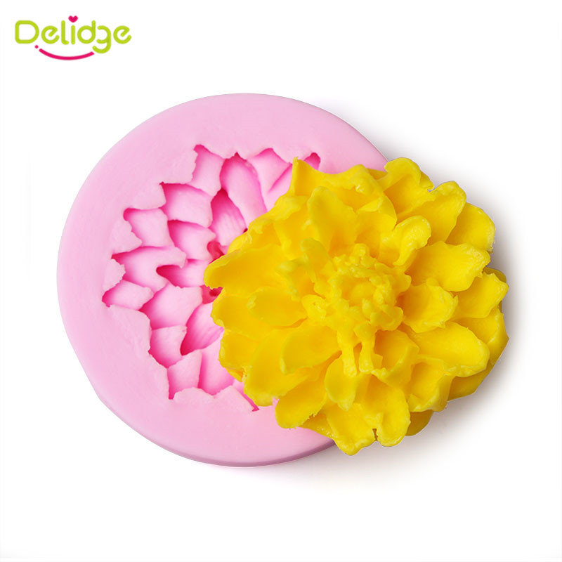 Delidge 1 Pc Lotus Flowers Shape Silicone Cake Mold 3d Chocolate