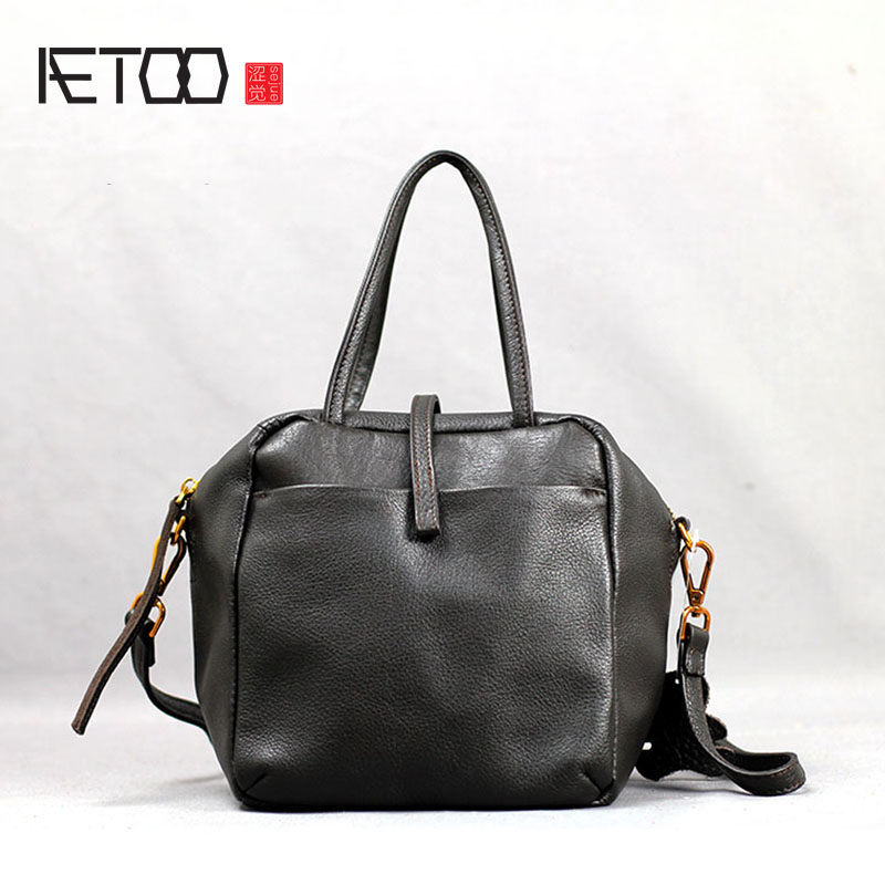 AETOO Leather handbag pure leather shoulder slung soft European and American fashion commuter bag