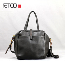 AETOO Leather handbag pure leather shoulder slung handbag soft leather European and American fashion commuter bag