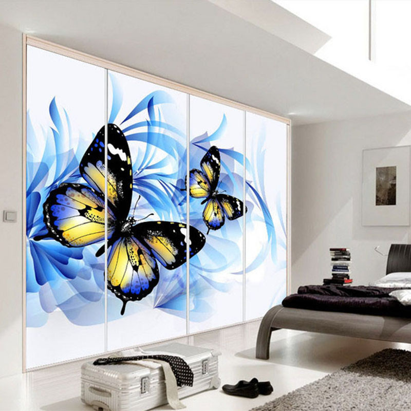 Aliexpress.com : Buy Photo Wallpaper Modern Abstract Art Beautiful Romantic  Blue Butterfly 3D Stereo Mural Living Room Bedroom TV Backdrop Wall Paper  From ...