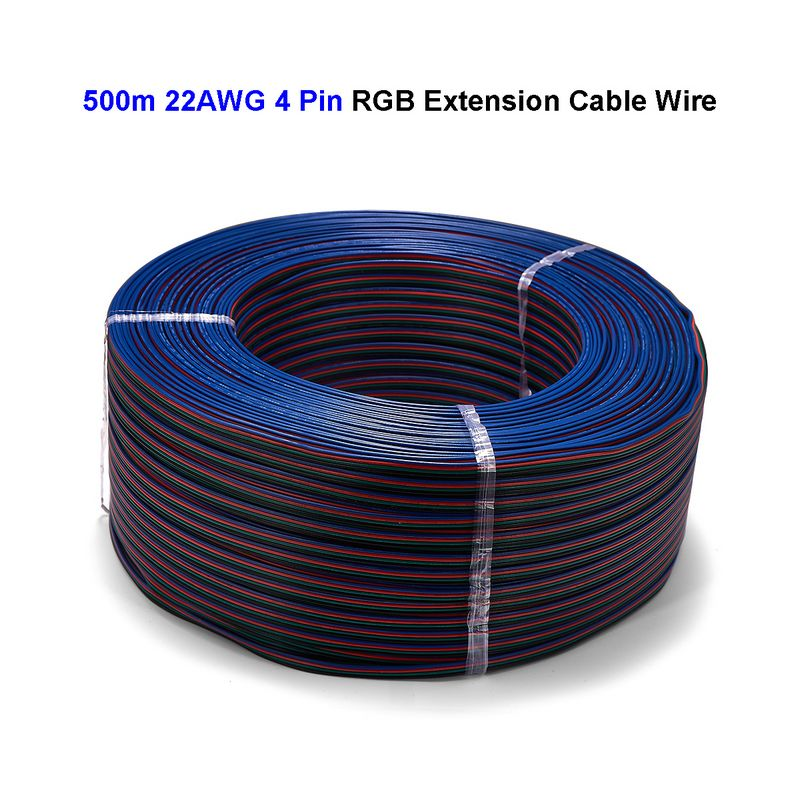 2roll RGB 4 Pin Power Extension Cable SM JST Connector Electrical Wire 500m 22AWG For 5050
