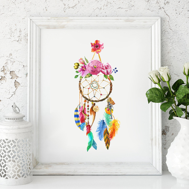 Watercolor Dream Catcher Wall Art Canvas Painting Home Decor ...