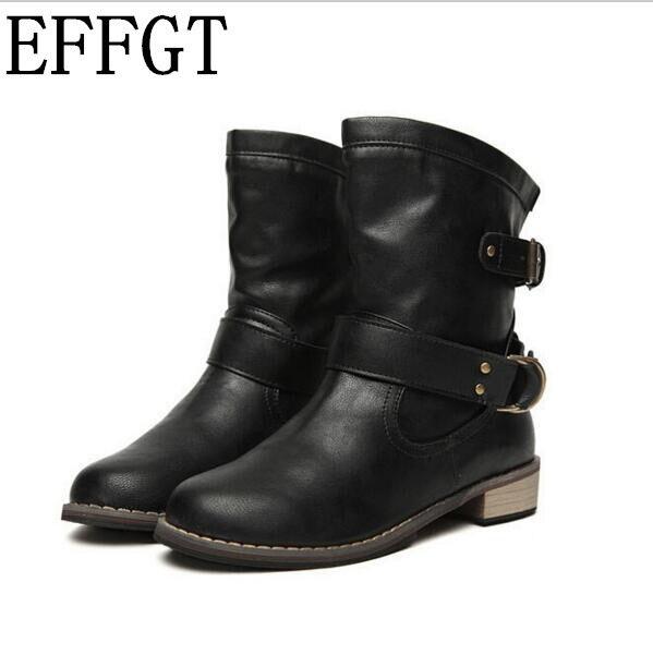 81b10f651 EFFGT nueva moda mujer botas de mujer primavera y otoño de las mujeres es martin  botas planas vintage zip cadenas Tacón cuadrado de la motocicleta botas en  ...