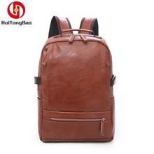 Man Leisure PU Leather Concise Outdoors Travel Backpack Large Capacity Computer Bag Laptop Bagpack Mochila School Bags Backpacks недорого