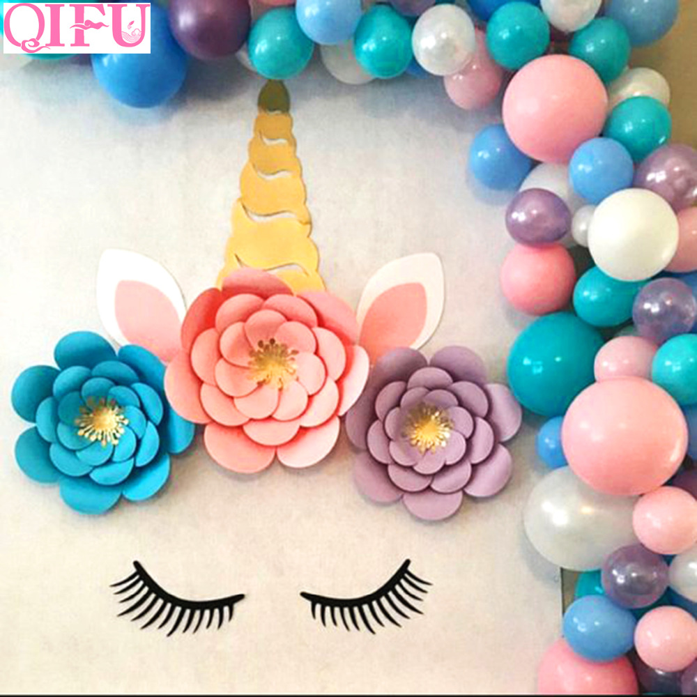 QIFU Unicorn Wall Stickers Unicornio Birthday Party Decorations Kids Unicorn Background Birthday Party Baby Shower Gift Supplies