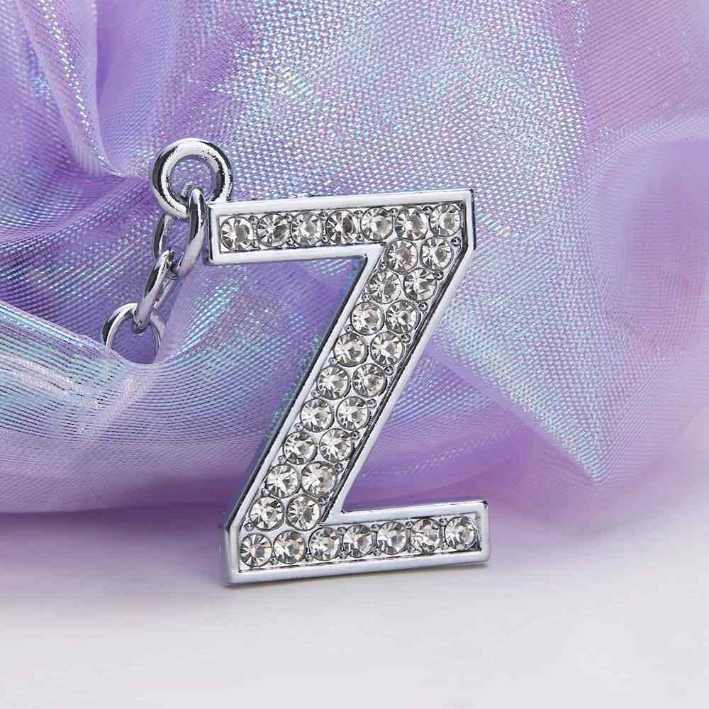 Шт. 1 шт. Кристалл Стразы Брелок с алфавитом 26 букв начальное кольцо для ключей цепи унисекс брелок сумка кулон ювелирные изделия орнамент
