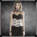 2016 Nova alta qualidade Mulheres lace bordados corset bustier sexy Discotecas Chiffon Bow bustier tops overbust corset mulheres