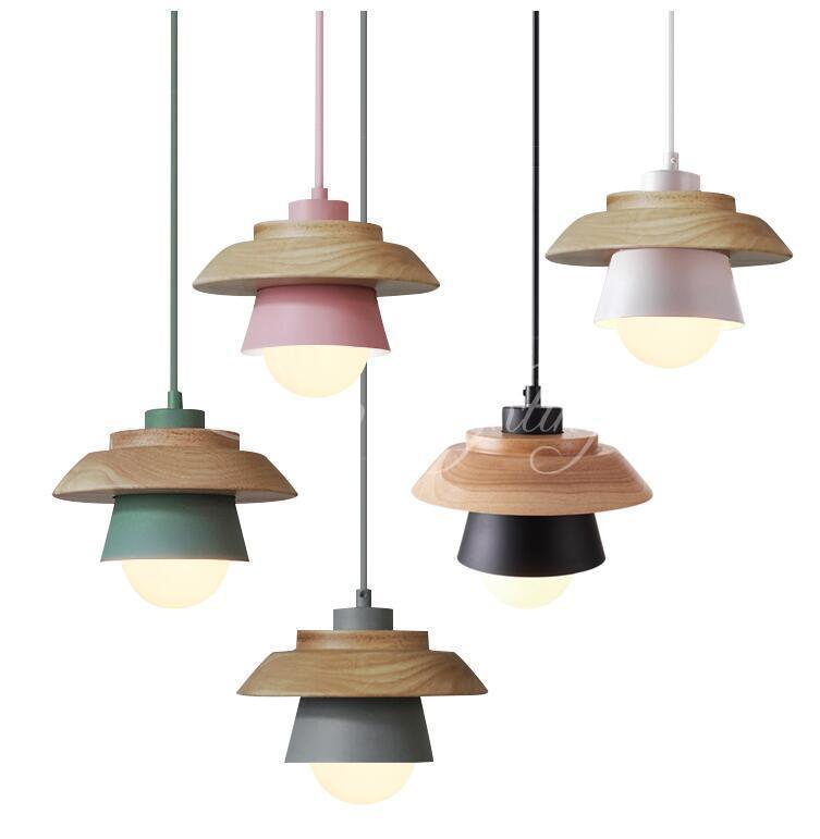 Wood UFO Nordic Pendant Lights For Home Lighting Modern Hanging Lamp Wooden Aluminum Lampshade E27 LED Bedroom Kitchen Light denmark antique pinecone ph artichoke oak wooden pineal modern creative handmade wood led hanging chandelier lamp lighting light