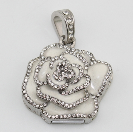 White Rose Flower Valentine'S Day Girl Gift Jewelry <font><b>Usb</b></font> <font><b>Flash</b></font> <font><b>Drive</b></font> 64GB 32GB Pendrive 1TB <font><b>2TB</b></font> <font><b>Pen</b></font> <font><b>Drive</b></font> 16GB Pendrives 512GB image