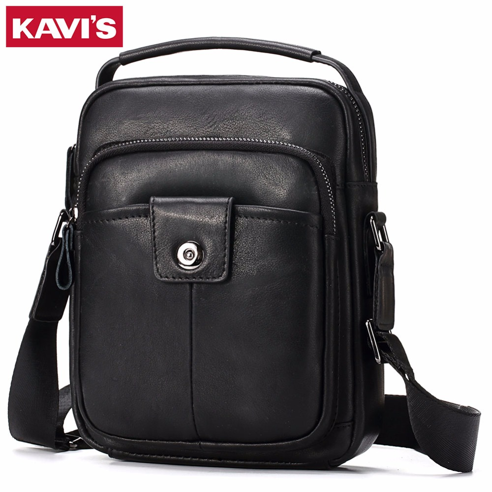 KAVIS Cowhide Genuine Leather Messenger Bag Men Shoulder Crossbody Handbag Bolsas Sac Sling Chest For Male Small Black Ipad genuine leather bag cowhide shoulder men