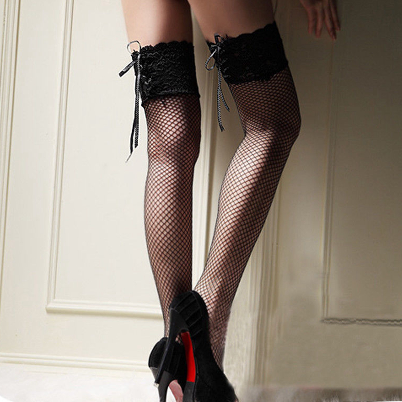 Sexy Lace Womens Girls Mesh Fishnet Stockings Tie Up Over Knee Thigh High Stockings NEW