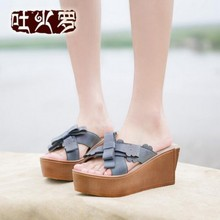 2016 new summer genuine leather women slippers thick bottom full grain leather wedge women sandals high heels women shoes