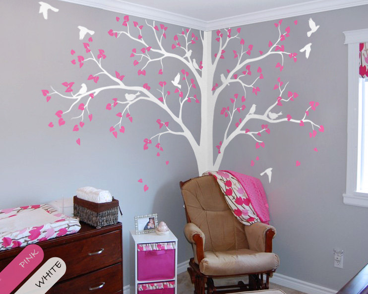 Full Corner Tree Wall Sticker Nursery Kids Room Decor Set Of Two Vinyl Decal Birds And Leaves Mural Ay1341