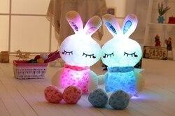 75 cm/30 ''luminoso conejo de peluche de juguete LED Luz de felpa muñeca de conejito de peluche almohada rotación de Color automático iluminado cojín regalo