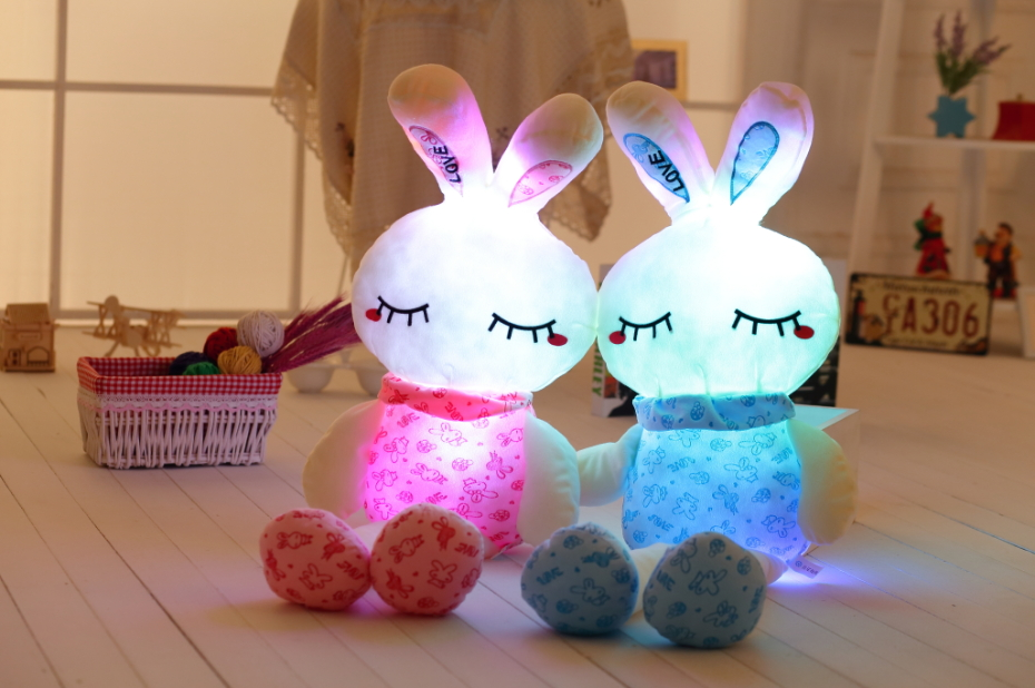 75 cm / 30 '' Juguete de conejo de peluche luminoso LED Light Up Plush Doll Glow Bunny Pillow Auto Color Rotación Iluminado Cojín Regalo