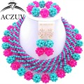 Chunky African Necklace Jewelry Set Blue Turquoise Hot Pink Crystal Beads Nigerian Wedding Party AN007