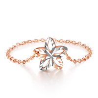 Solid AU750 Rose Gold Ring Women Hollow Flower Ring