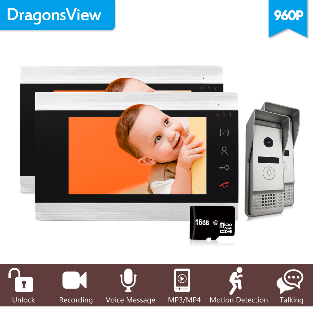 Dragonsview 7 Inch 960P Video Doorbell Phone Intercom System Kit Wide Angle 2 Monitors and 2