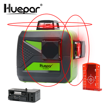 Huepar 12 linii 3D krzyż poziomice laserowe samopoziomujący 360 poziomy i pionowy krzyż Super mocny czerwony Laser wiązka laserowa