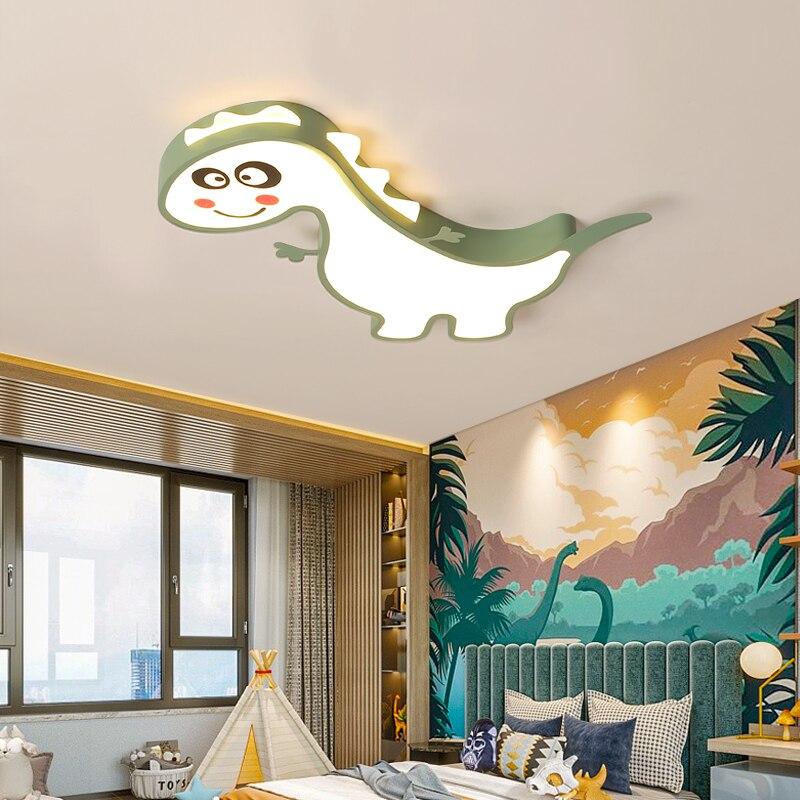 Nowoczesne, minimalistyczne dinozaur dla dzieci sypialnia z kutego żelaza doprowadziły sufitu światła dekoracji wnętrz chłopiec dziewczyna pokoju akrylowa sufitowa lampa