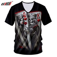 UJWI Summer Tops Men Skull Tshirt Cool Print Queen And King Poker 3D T-shirts Man Short Sleeve V-neck Tee Shirts Unisex Harajuku цена