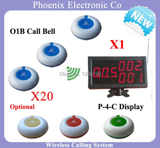 Wireless Que Llama el Sistema de Megafonía Invitado, 1 unids Pantalla P-4-C y 30 unids O1 el botón del camarero